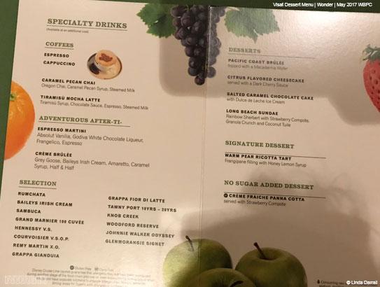 Vista Dessert Menu Wonder May 2017
