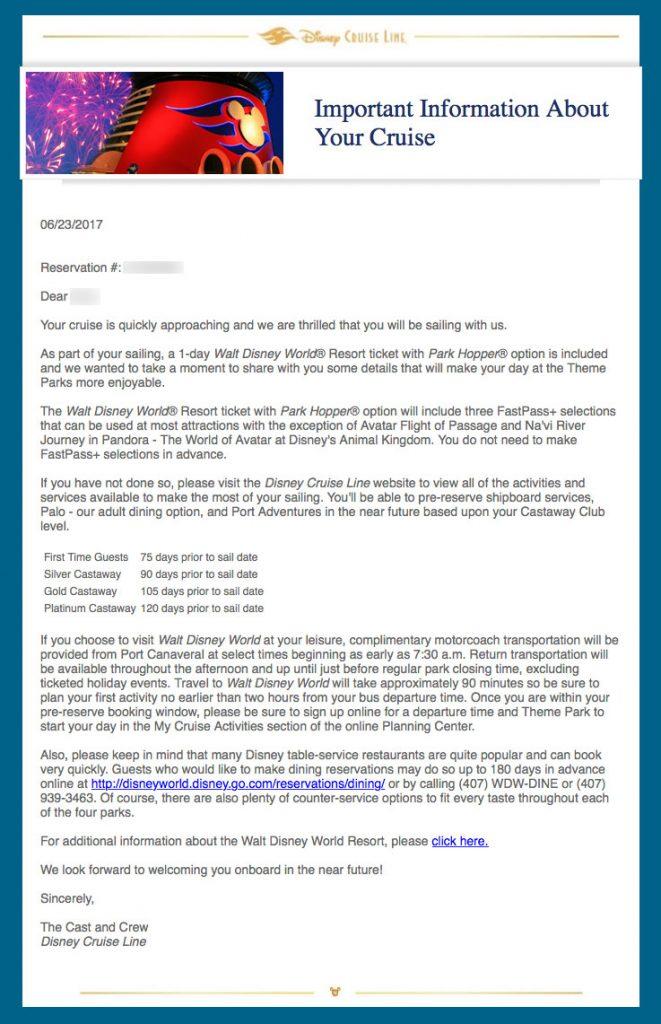 DCL WDW Parkhoper Passenger Information Letter 2017