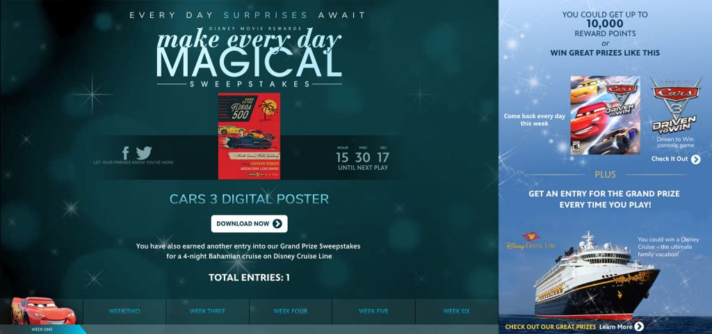 DMR Make Every Day Magical Sweepstakes 2017 Status