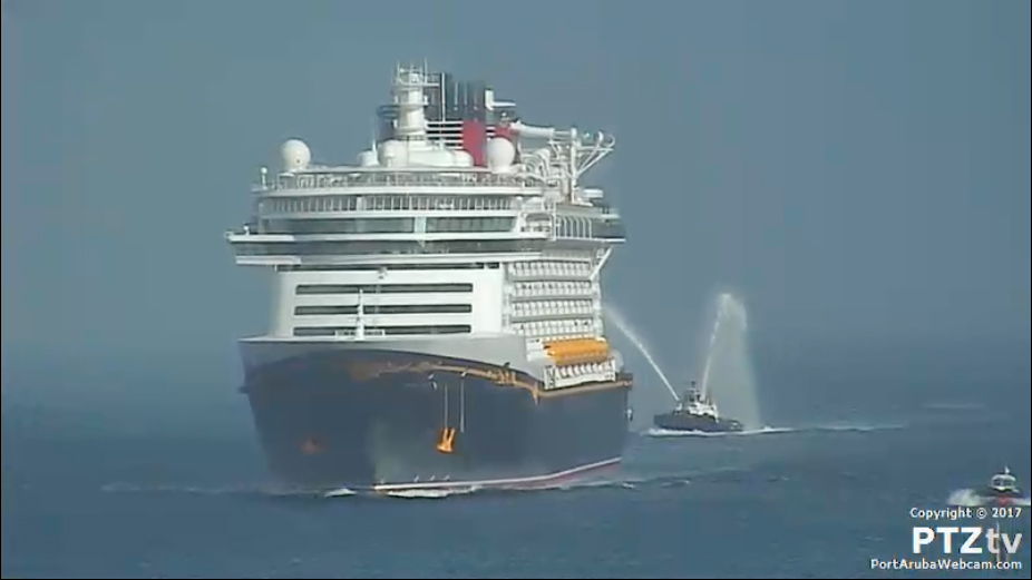 Fantasy Fireboat Salute Arrival Aruba