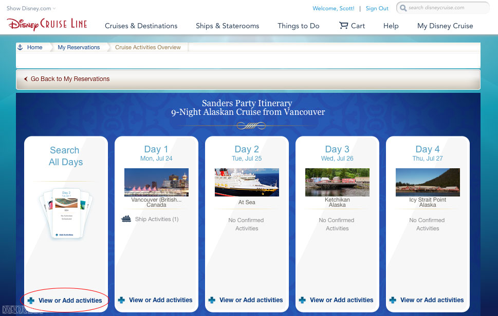 DCL Cruise Activities Overview