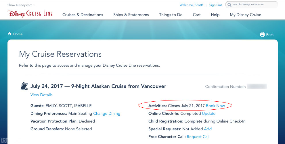 DCL My Cruise Reservations