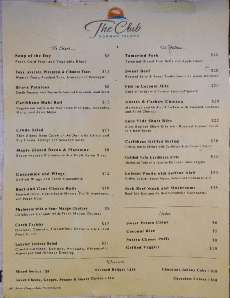 The Club Norman Island Menu