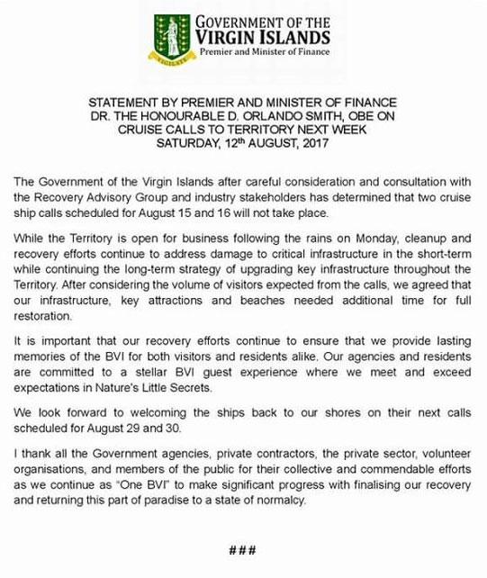 BVI Tortola Cruise Call Cancelation Statement 08 12 2017