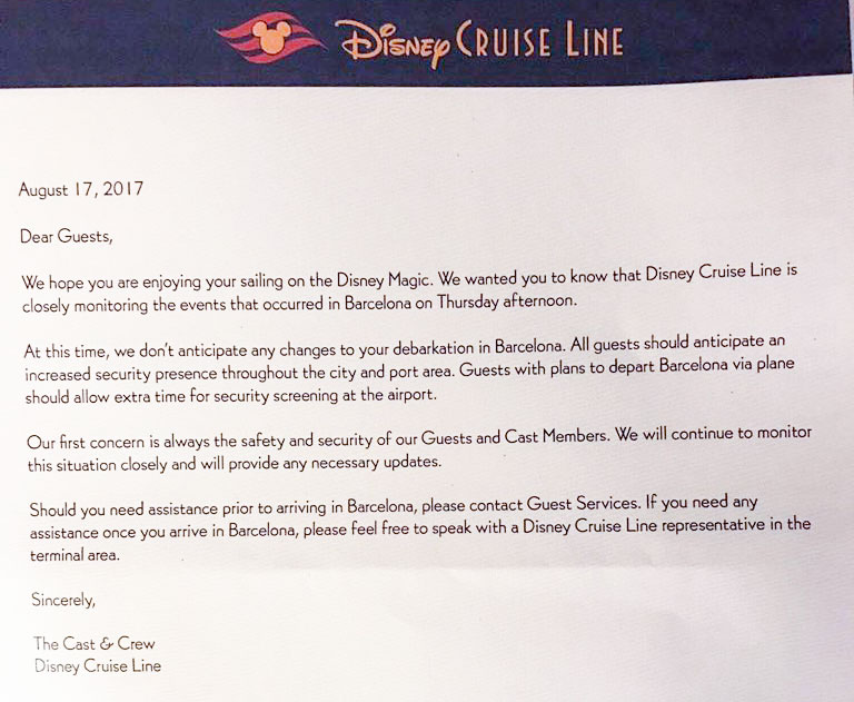 DCL Magic Letter Barcelona Terrorist Attack Letter August 2017