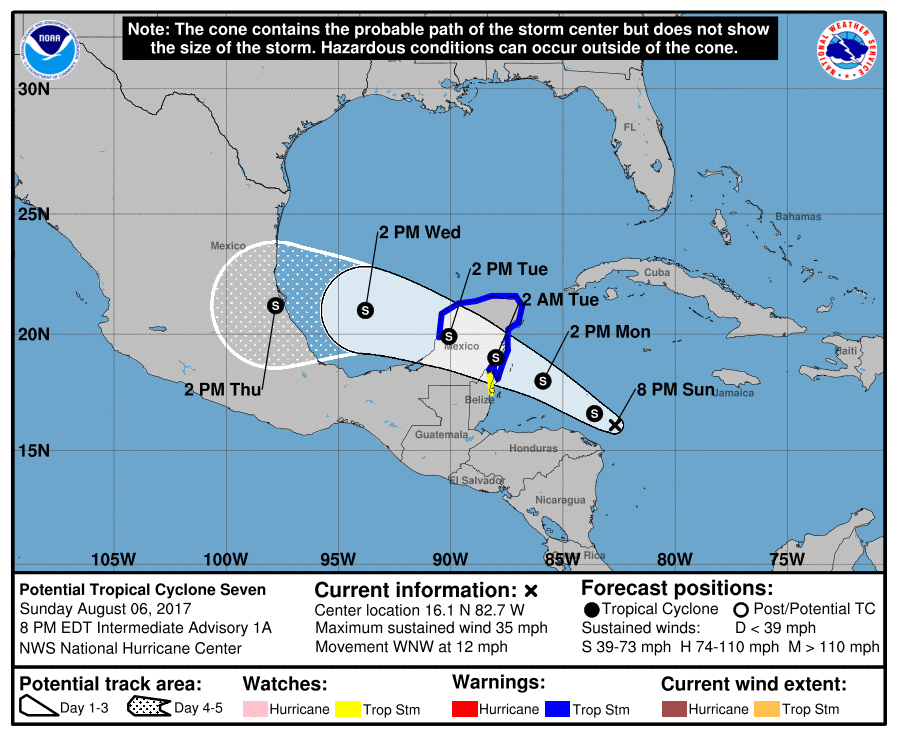 Potential Tropical Cyclone 7 1A Forecast Track 20170806