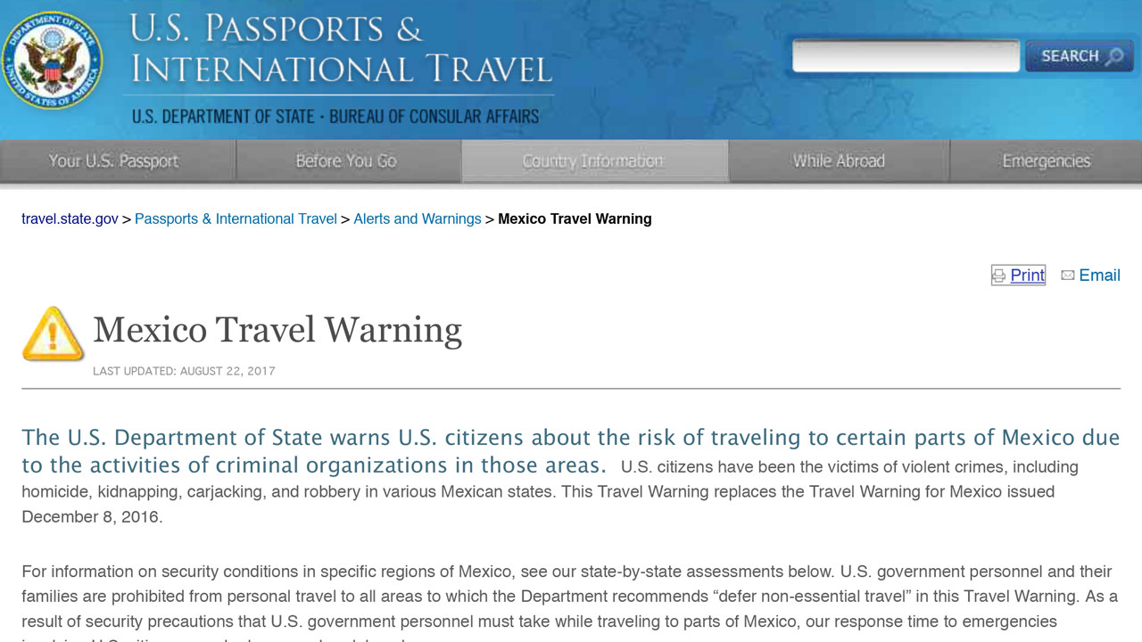 USDOS Mexico Travel Warning 20170822