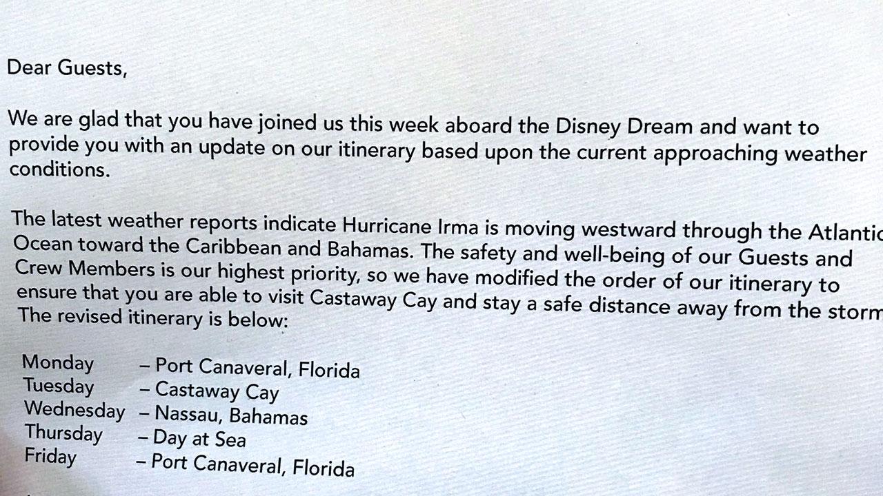 DCL Dream Itinerary Change Hurricane Irma 20170904