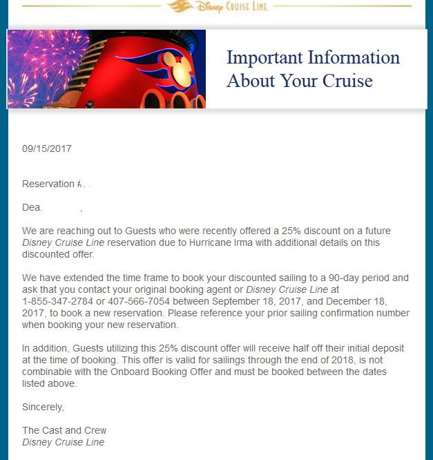 DCL Guest Email Canceled Cruise Booking Extended Reduced Deposit