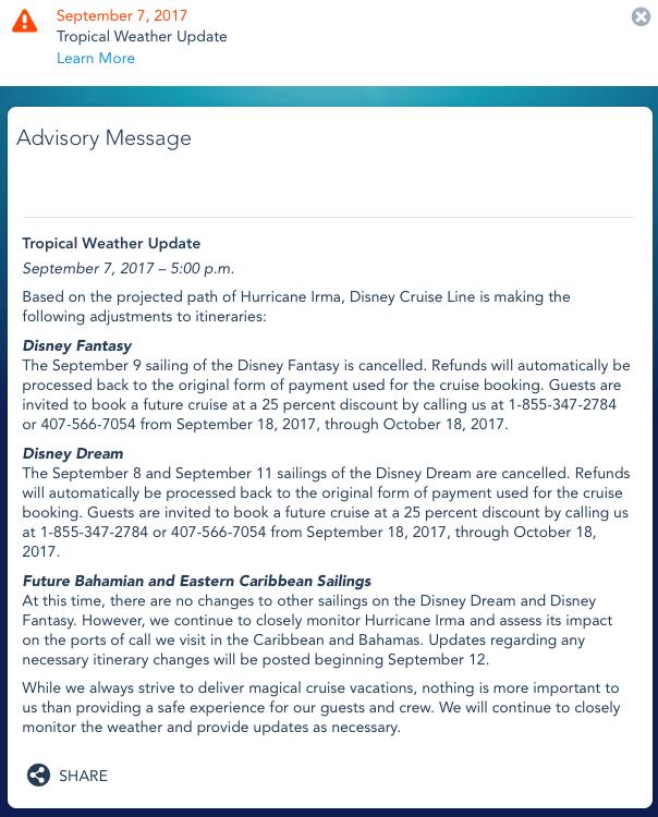 DCL Irma Advisory 20170907