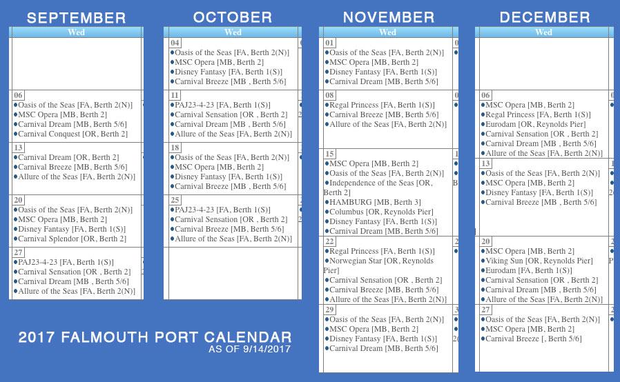 Falmouth Port Calendar Disney Fantasy 20170914