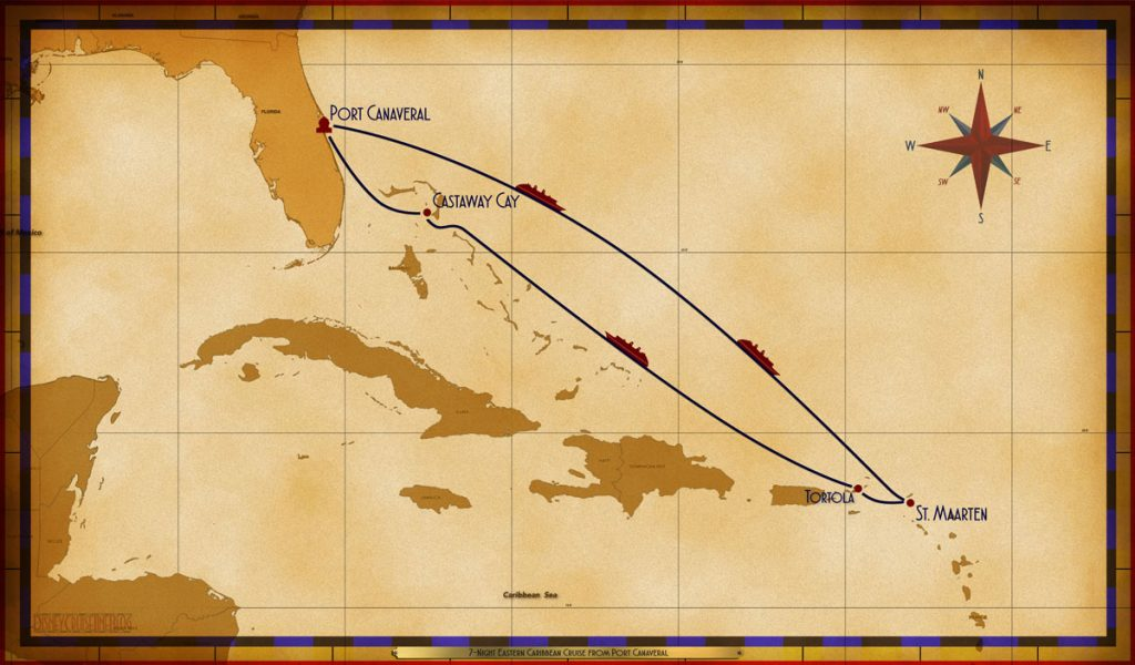 Map Magic 7 Night Eastern Caribbean Disney Magic PC SEA SEA SXM TOR SEA CC