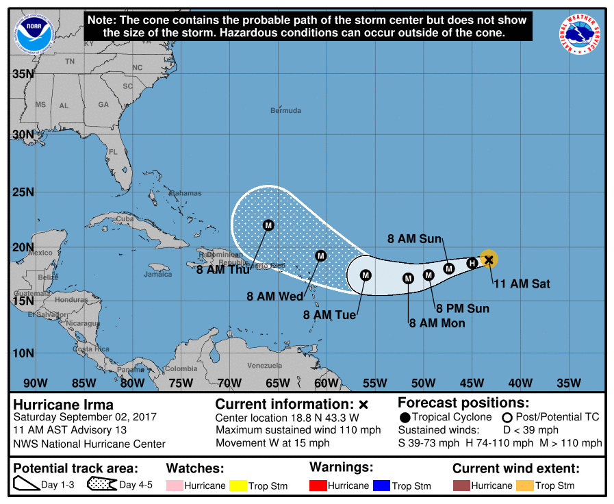 NHC Irma 20170902 11am Track