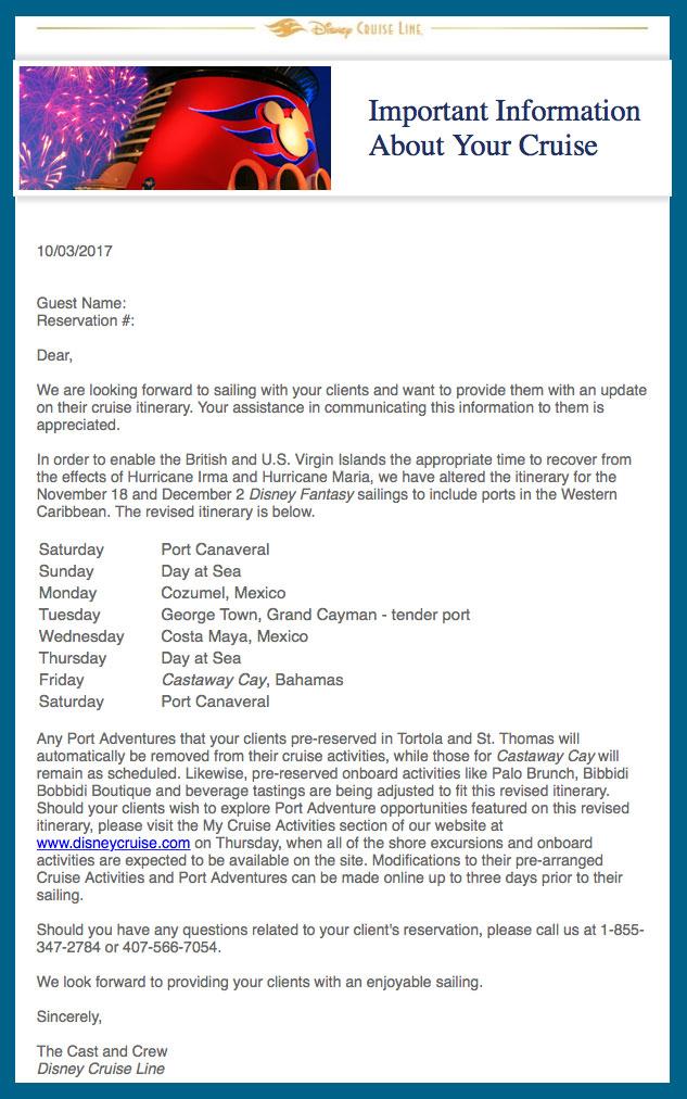 DCL Fantasy Eastern Western Irma Nov 18 Dec 2