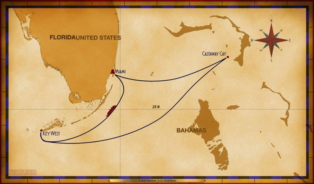 Map Magic 4 Night Bahamian Cruise MIA SEA KW CC
