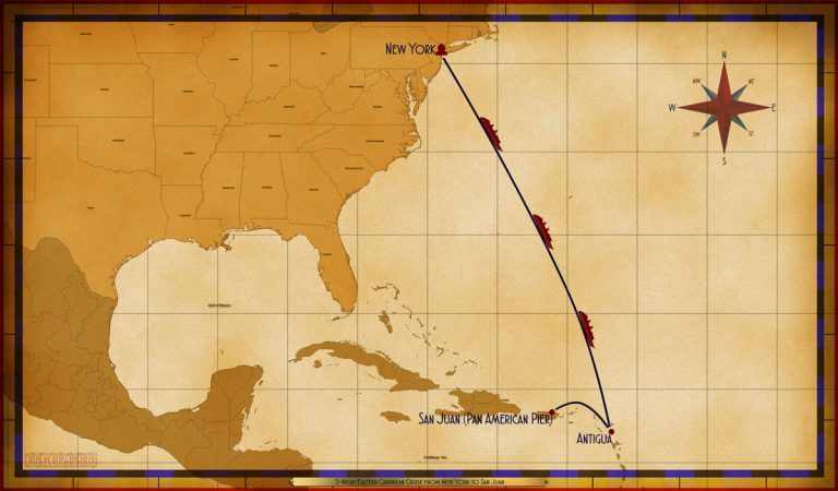 Altered 5-Night Eastern Caribbean from New York to San Juan Itinerary Map