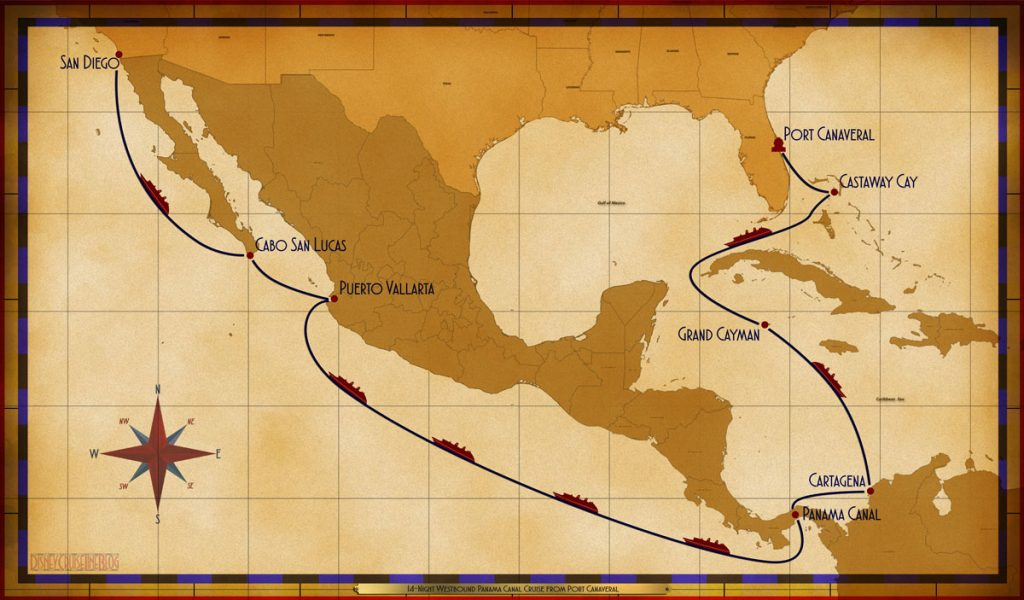 Map Wonder 14 Night Westbound Panama Canal Cruise 2019