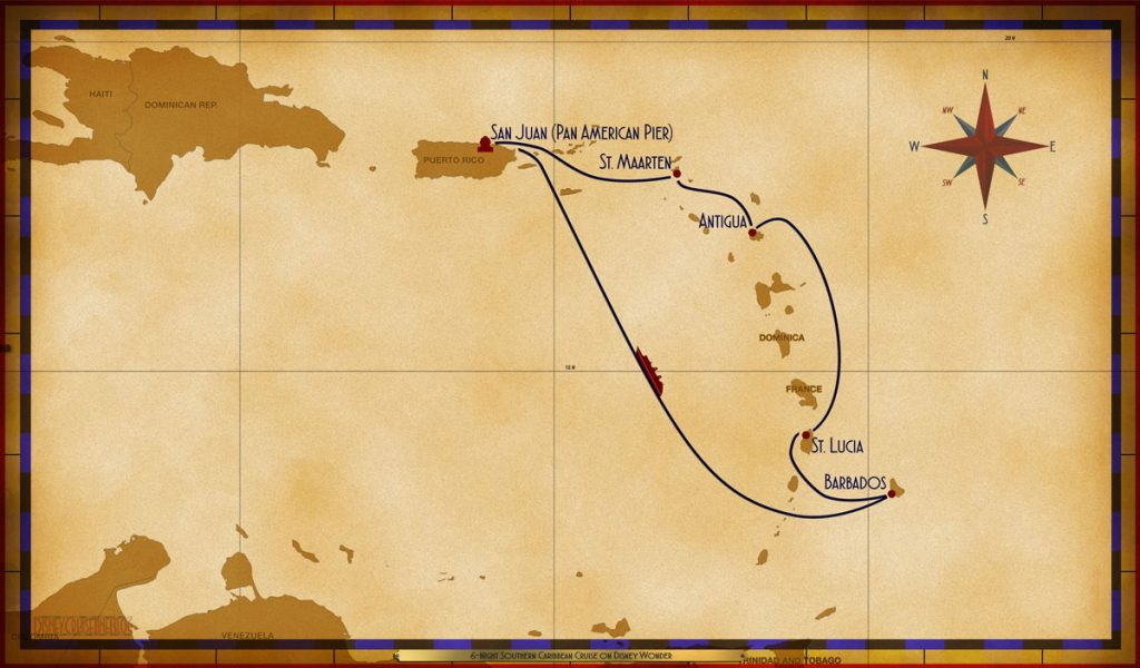 Map Wonder 6 Night Southern Caribbean Cruise SJU SXM ANT StL BAR SEA