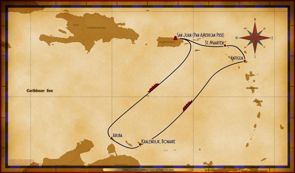 Map Wonder 7 Night Southern Caribbean Cruise SJU SEA ARU BON SEA ANT SXM