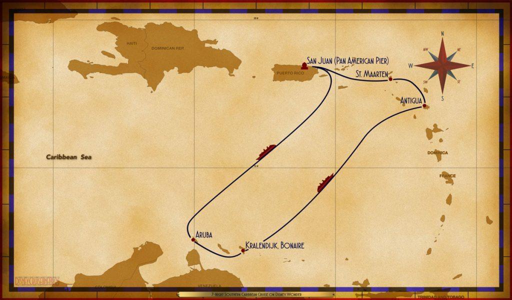 Map Wonder 7 Night Southern Caribbean Cruise SJU SEA ARU BON SEA ANT SXM
