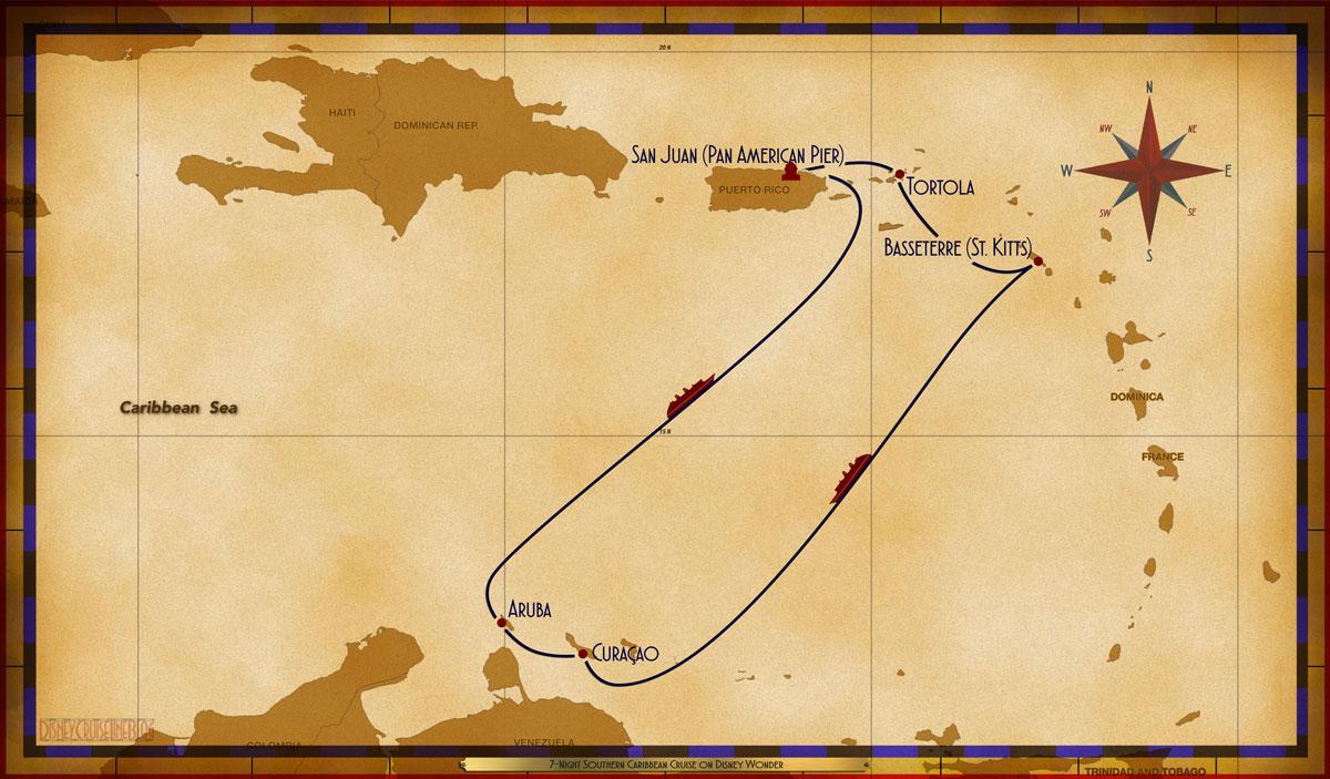 Map Wonder 7 Night Southern Caribbean Cruise SJU TOR BAS SEA CUR ARU SEA