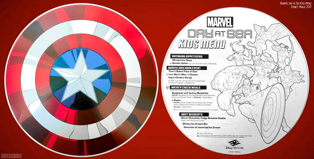 Marvel Day At Sea Kids Menu Magic October 2017