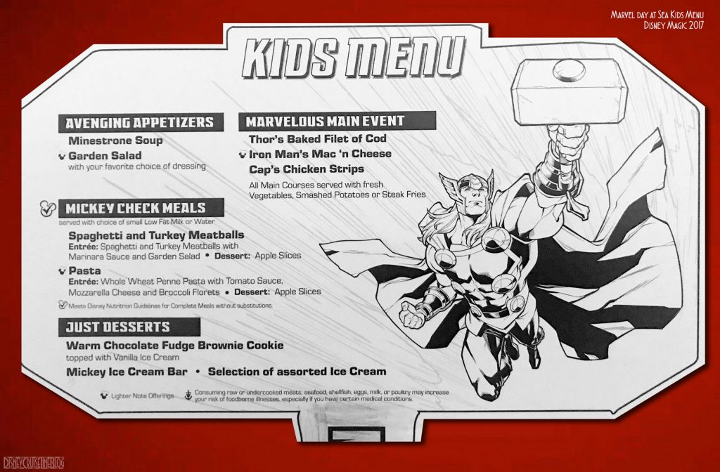 Marvel Day At Sea Kids Menu Thor Magic October 2017