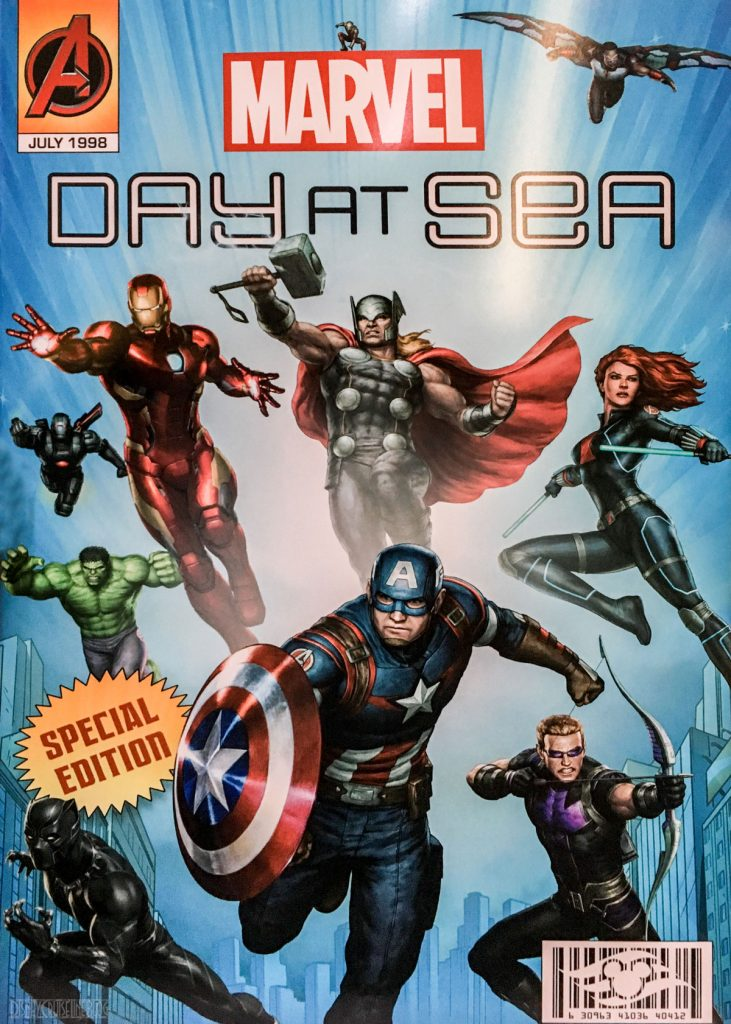 Marvel Day At Sea Menu Cover