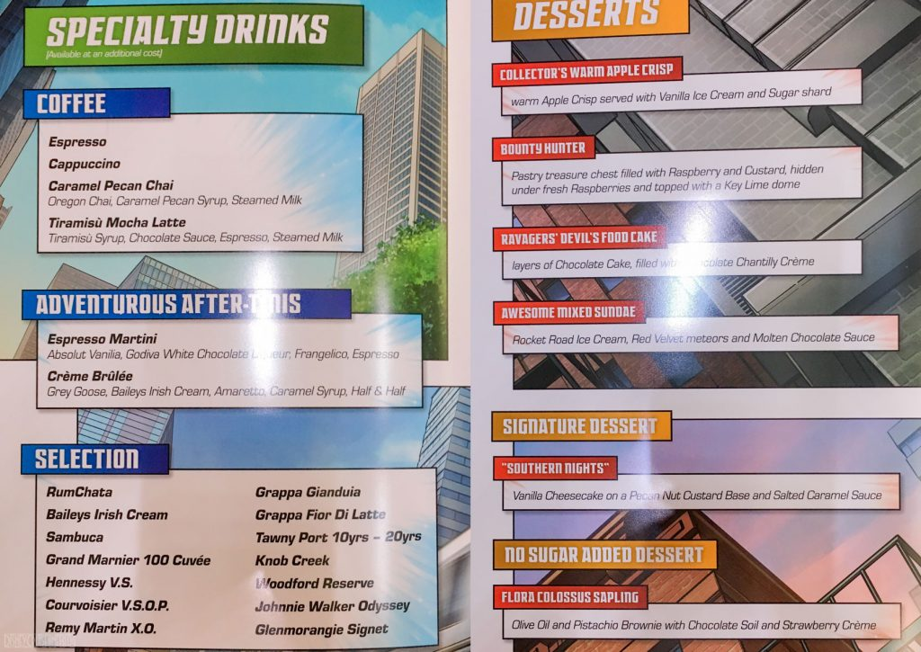 Marvel Day At Sea Menu Dessert
