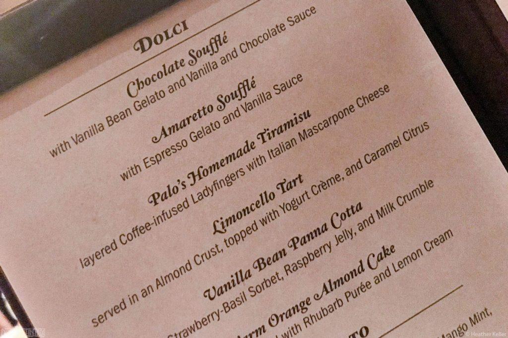 Palo Amaretto Souffle Dessert Menu