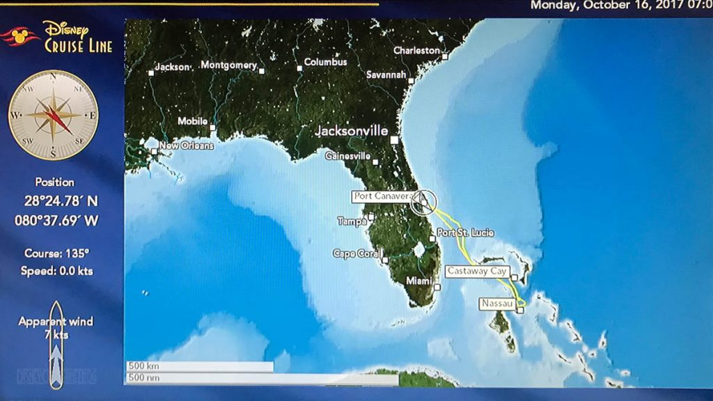 Stateroom TV Map Dream 20171016 Port Canaveral