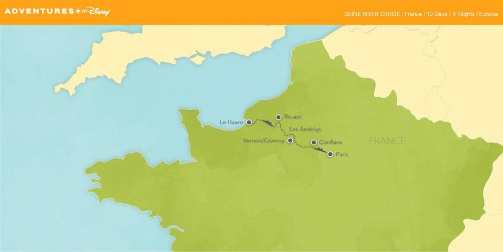 ABD 9 Night Seine River 2019 Itinerary Map