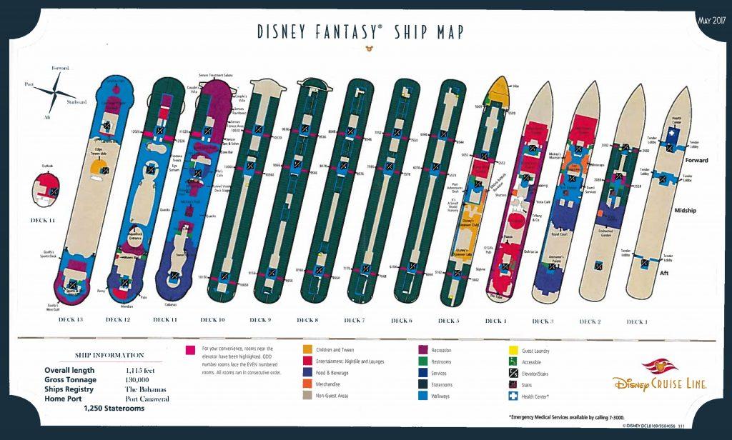 Disney Fantasy Ship Map Handout May 2017