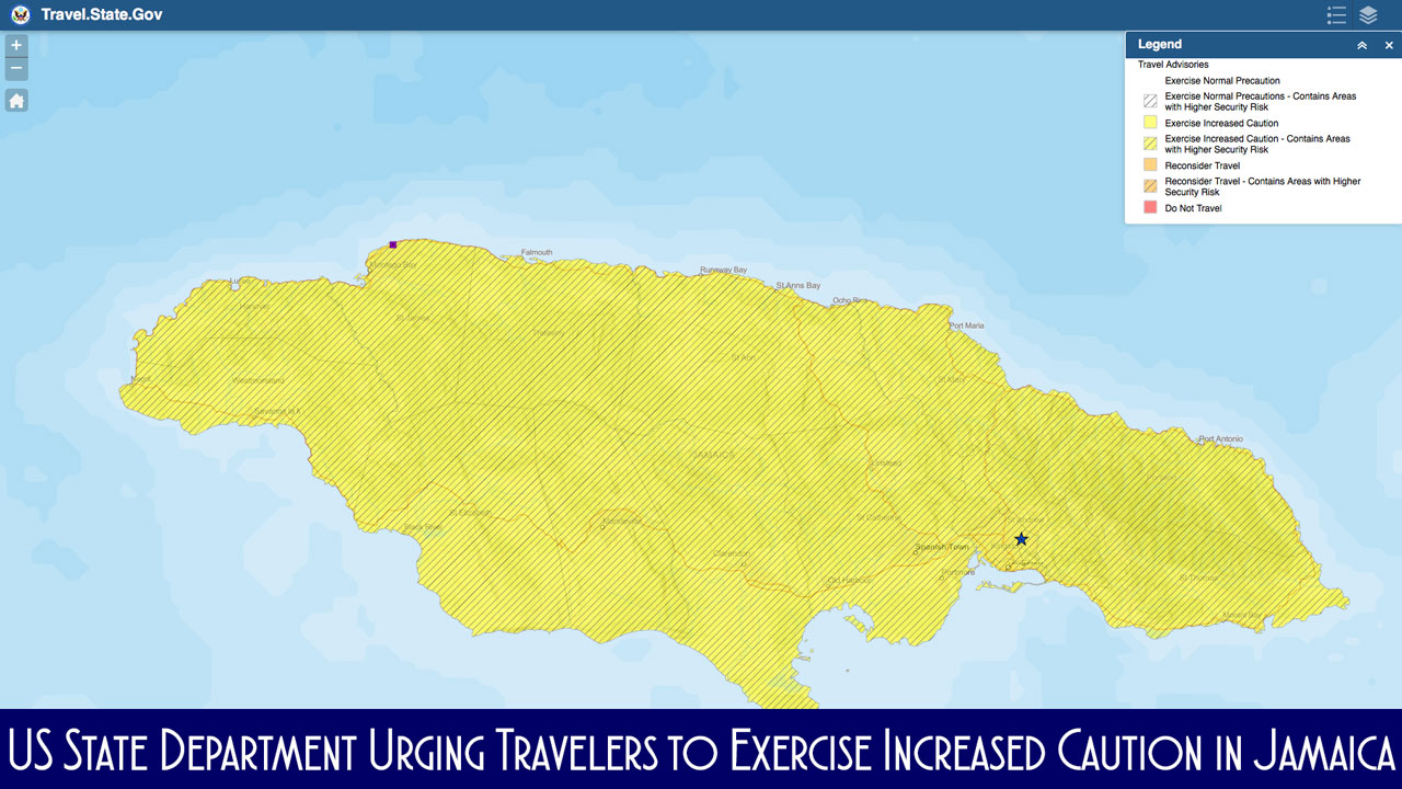 USSD Jamaica Travel Advisory Map 20180123