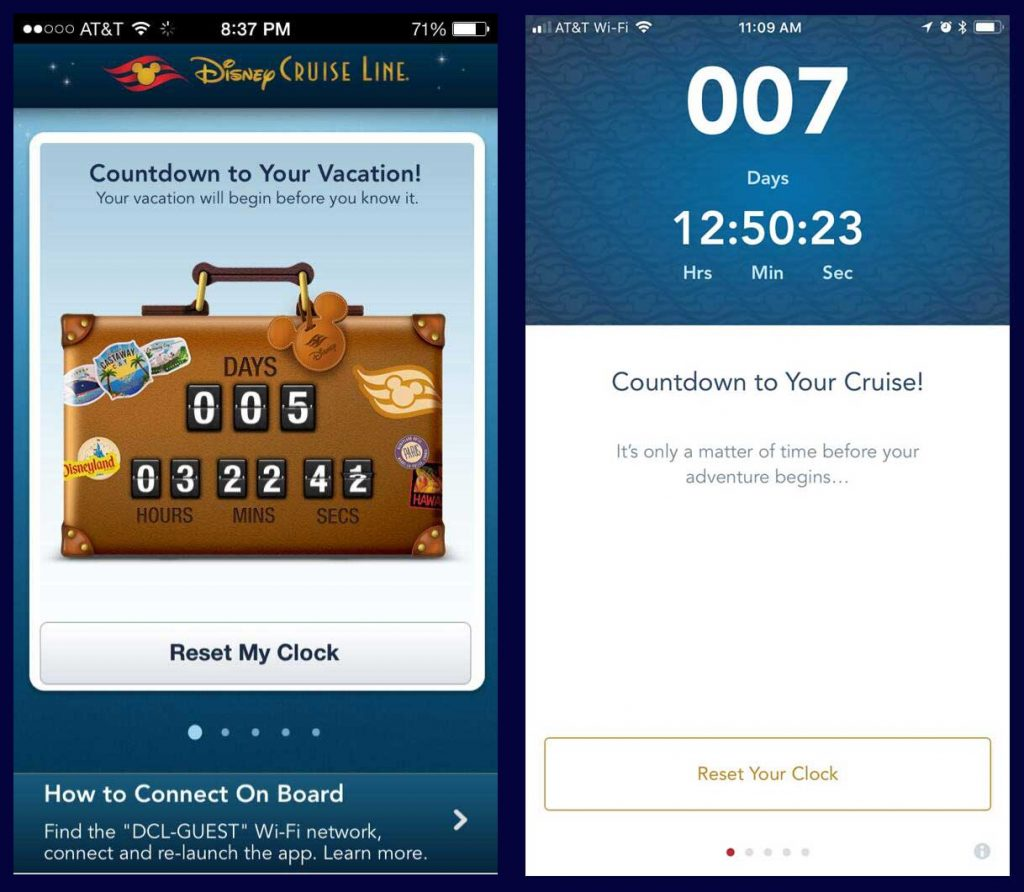 DCL Navigator App V2 Vacation Countdown Clock Comparison
