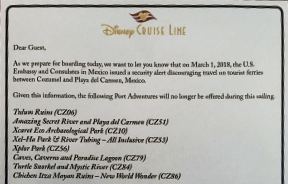 DCL Fantasy Cozumel Port Adventure Safety Cancelations 20180303