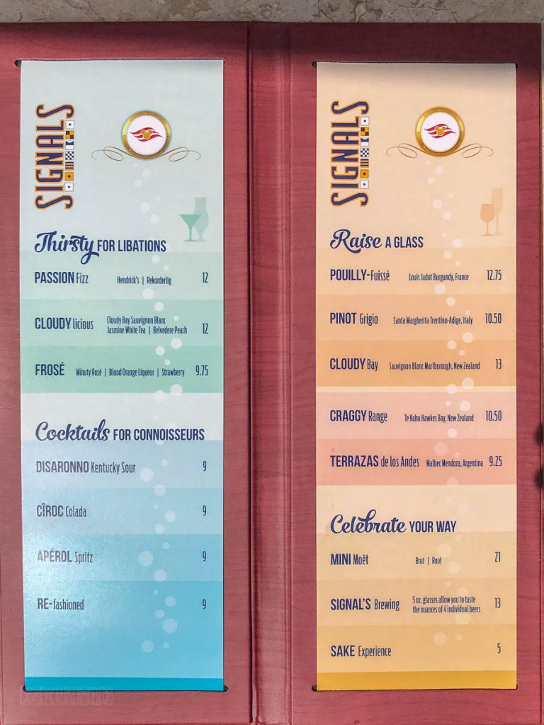 Disney Magic Signals Bar Menu