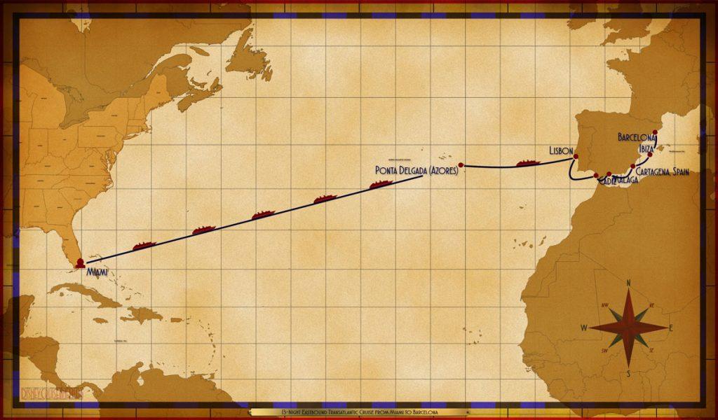 Map Magic 13 Night Eastbound Transatlantic Miami Barcelona 2019