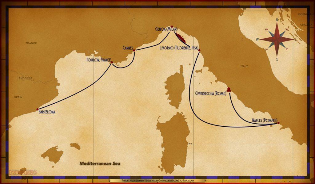 Map Magic 7 Night Mediterranean Cruise Civitavecchia Barcelona B