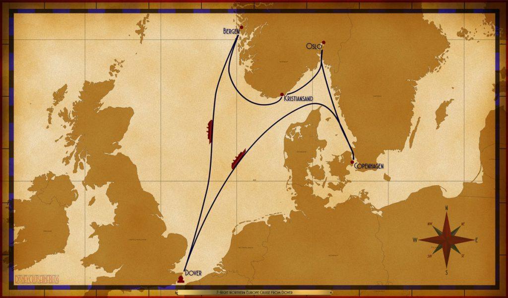 Map Magic 7 Night Northern European Cruise Dover 2019 B