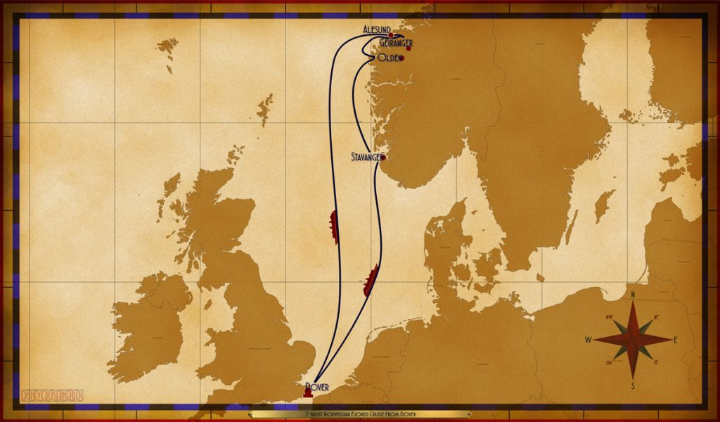 Map Magic 7 Night Norwegian Fjords Cruise Dover 2019