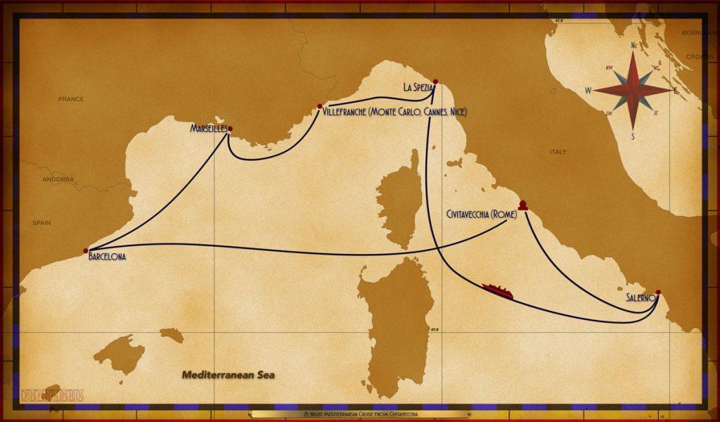 Map Magic 8 Night Mediterranean Civitavecchia