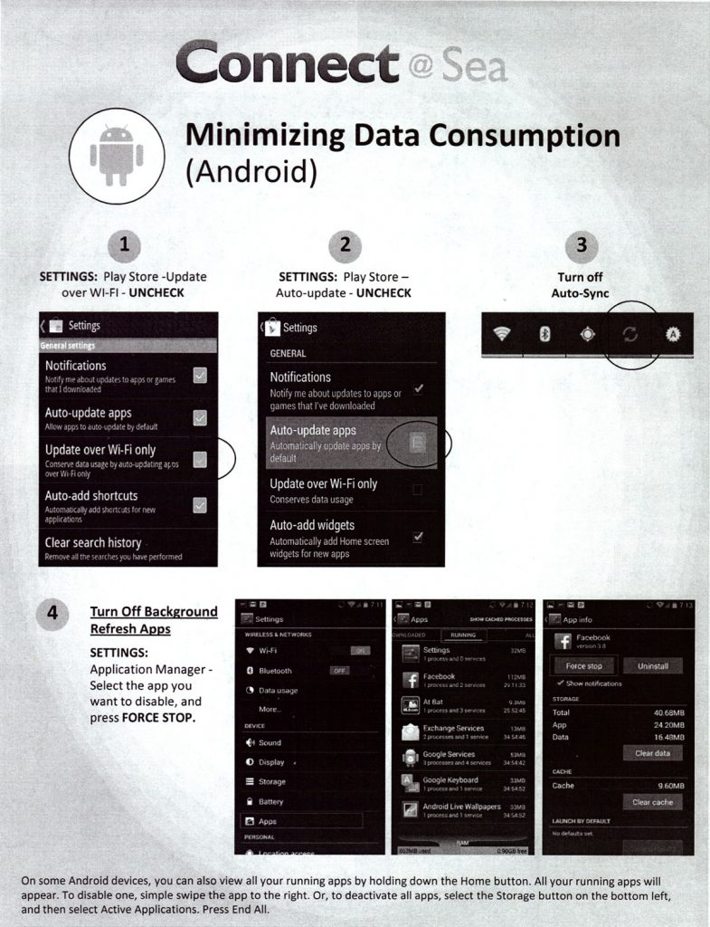 ConnectAtSea Minimizing Data Consumption Android