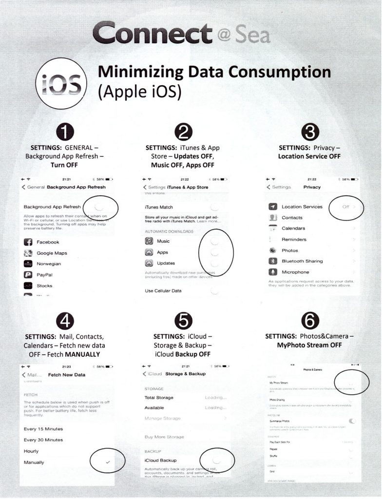 ConnectAtSea Minimizing Data Consumption IOS