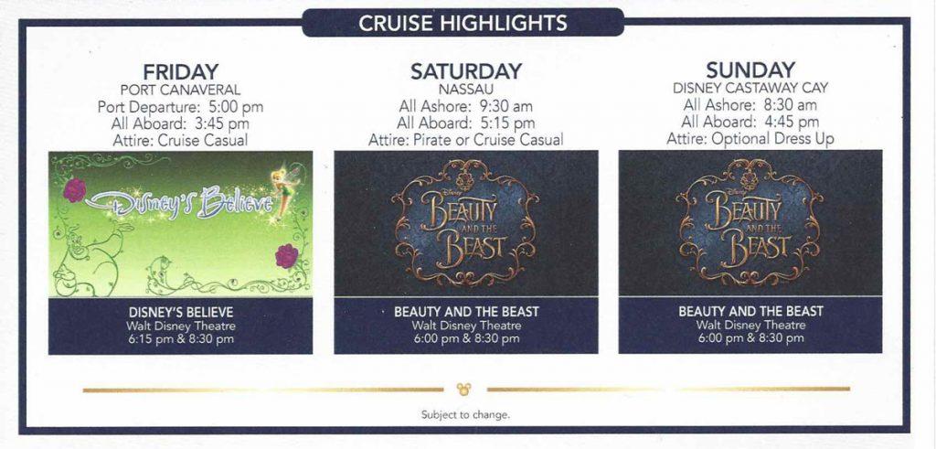 Disney Dream B2B Beauty And The Beast Performances