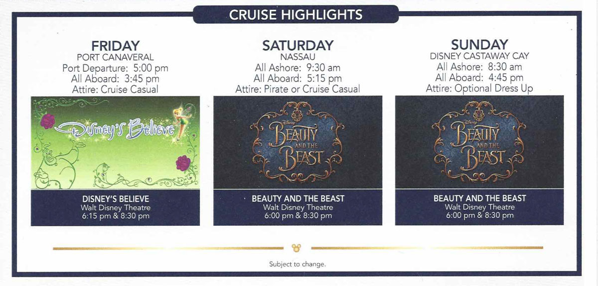 Disney Dream B2B Beauty And The Beast Performances