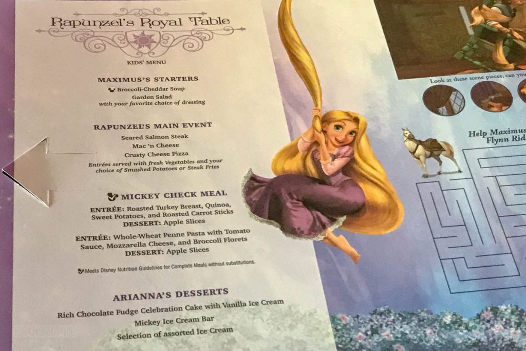 Rapunzel's Royal Table Kids Menu