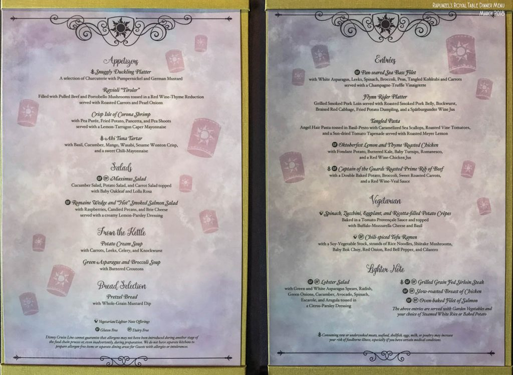 Rapunzel's Royal Table Menu