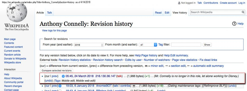 Wikipedia Connelly Revision History 20180417