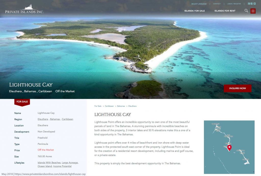 Lighthouse Cay Private Islands Off Market May 2018